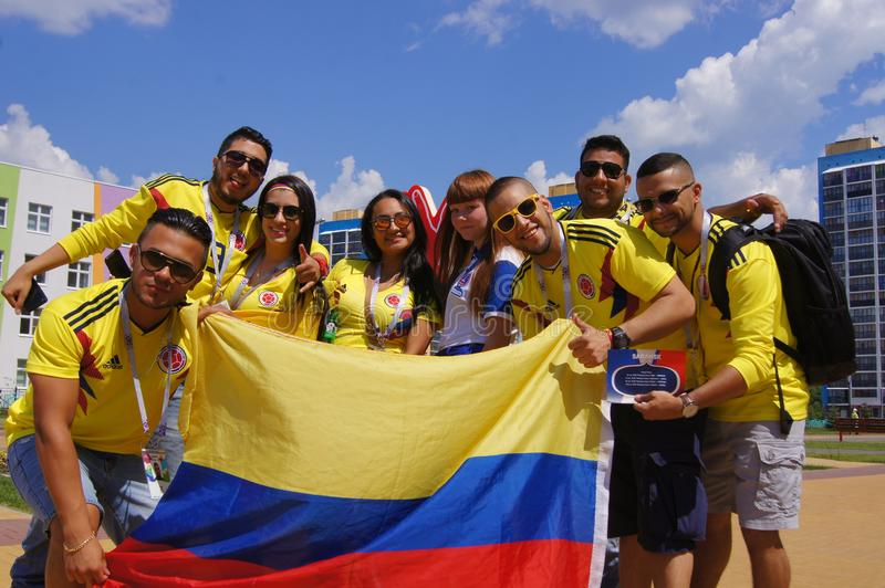 fotbollsfan av Colombia fotografering för bildbyråer
