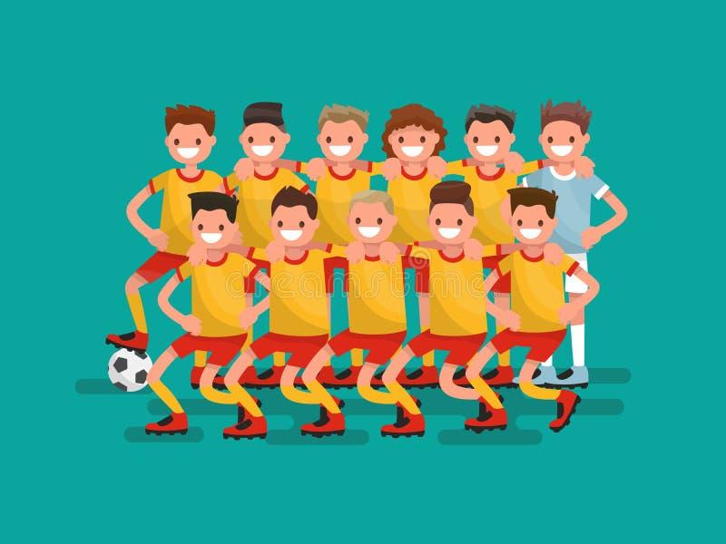 Fotbollslag Elva spelare tillsammans också vektor för coreldrawillustration royaltyfri illustrationer