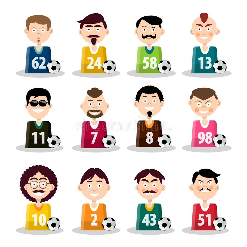 Fotbollslag Symboler för vektorfotbollspelare isolerade royaltyfri illustrationer