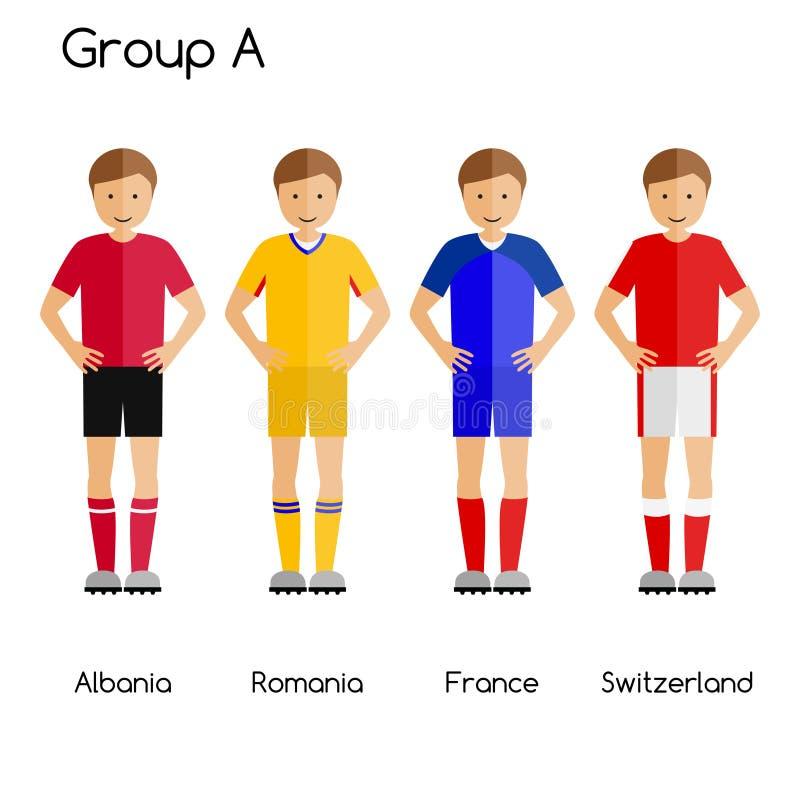 Fotbollslagspelare Gruppera A - Albanien, Rumänien, Frankrike och Schweiz stock illustrationer