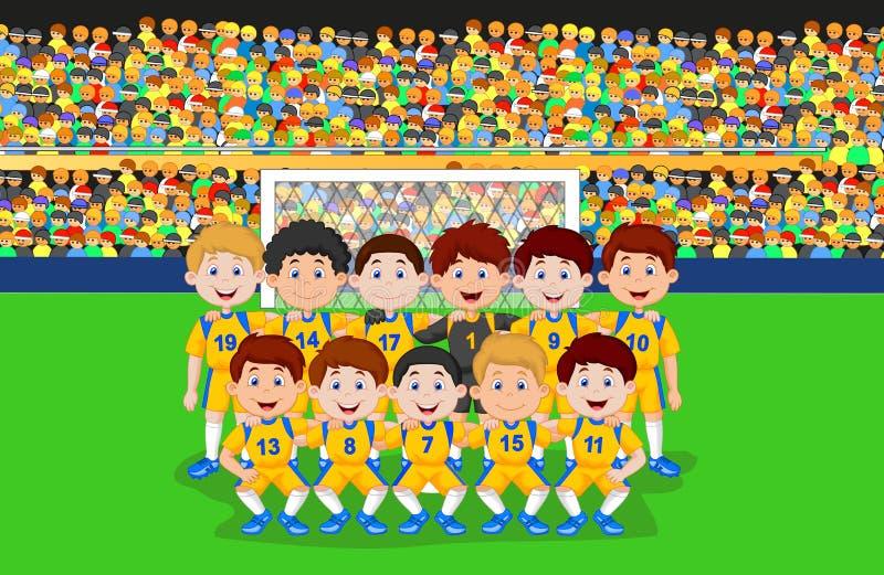 Fotbollslagtecknad film royaltyfri illustrationer