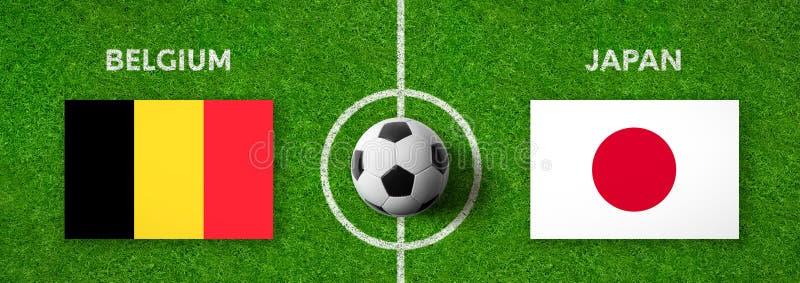 Fotbollsmatch Belgien vs japan stock illustrationer