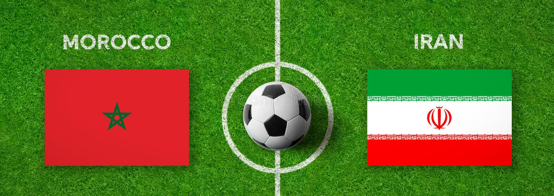 Fotbollsmatch Marocko vs iran royaltyfri bild