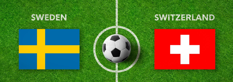 Fotbollsmatch Sverige vs switzerland stock illustrationer