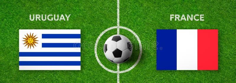 Fotbollsmatch Uruguay vs france royaltyfri illustrationer