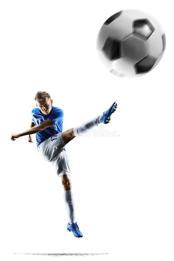 Fotbollspelare för yrkesmässig fotboll i handling på vit arkivbild