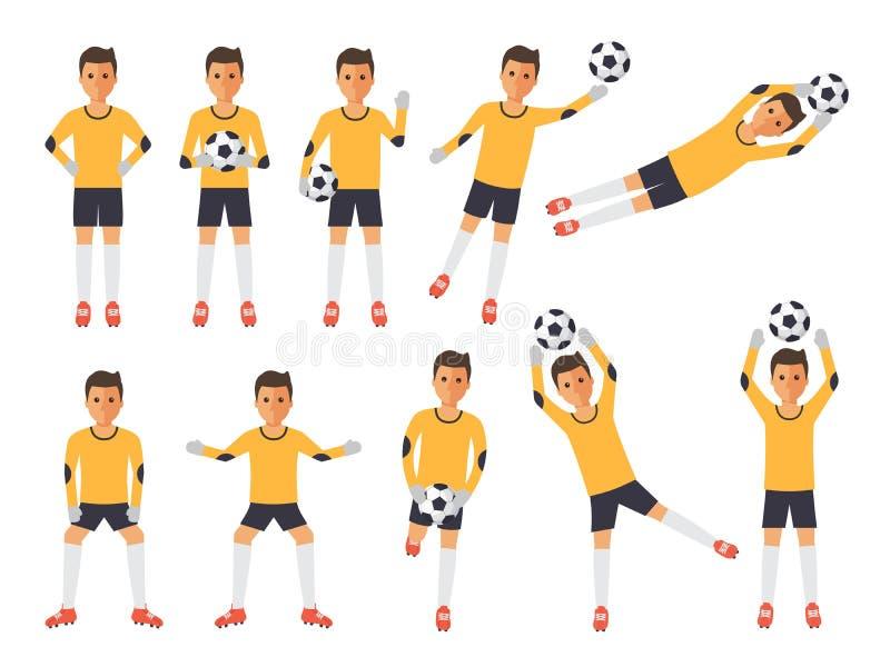 Fotbollspelare, fotbollmålvakt i handlingar vektor illustrationer