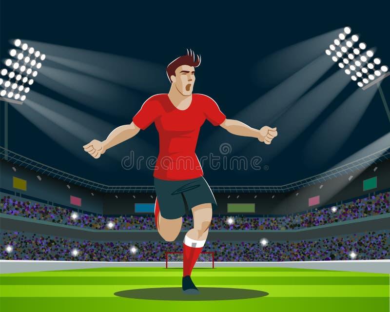 Fotbollspelare med bollen i stadion Ljus ställningar, fläktar stock illustrationer