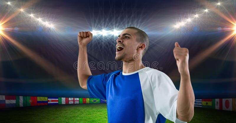 Fotbollspelare med lyftta armar fira seger royaltyfri illustrationer