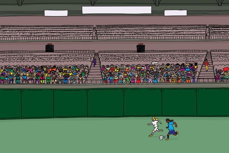 Fotbollspelare och olik folkmassa på stadion stock illustrationer