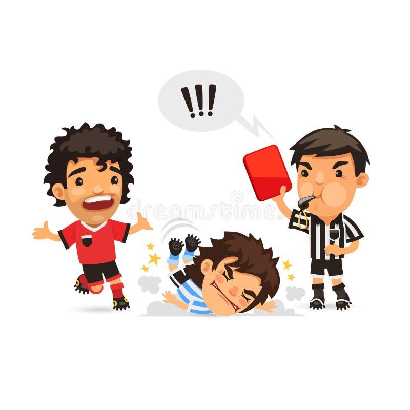 Fotbollspelare som dananderedskapojust spel och domare vektor illustrationer