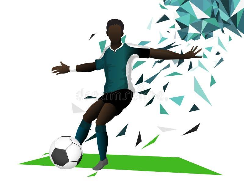 Fotbollspelare som försöker att sparka fotbollbollen på färgrika abstrakta lodisar royaltyfri illustrationer