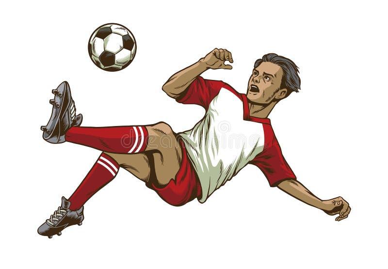 Fotbollspelare som gör skottet för över huvudet spark vektor illustrationer