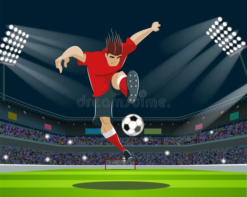 Fotbollspelare som sparkar bollen i stadion Ljus ställningar, fläktar vektor illustrationer