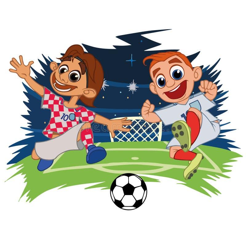 Fotbollspelare spelar bollen på stadion vektor illustrationer