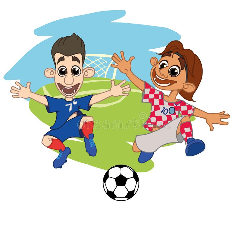Fotbollspelare spelar bollen på stadionKroatien Frankrike vektor illustrationer