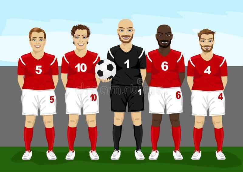Fotbollspelare team gruppen med den hållande fotbollbollen för målvakten vektor illustrationer