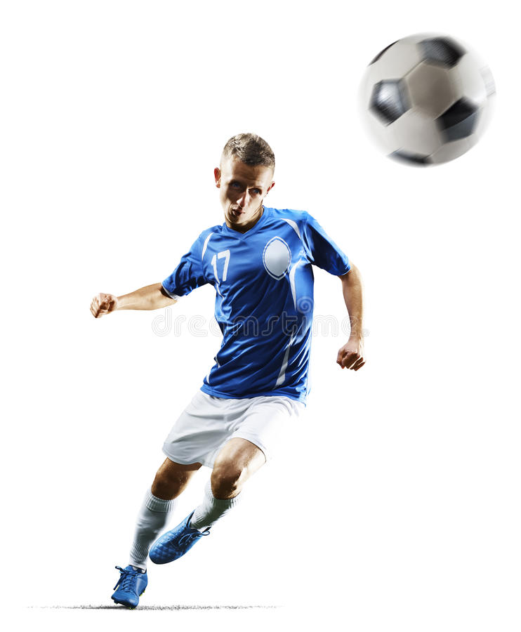 Fotbollspelaren för yrkesmässig fotboll i handling isolerade vit bakgrund arkivbilder