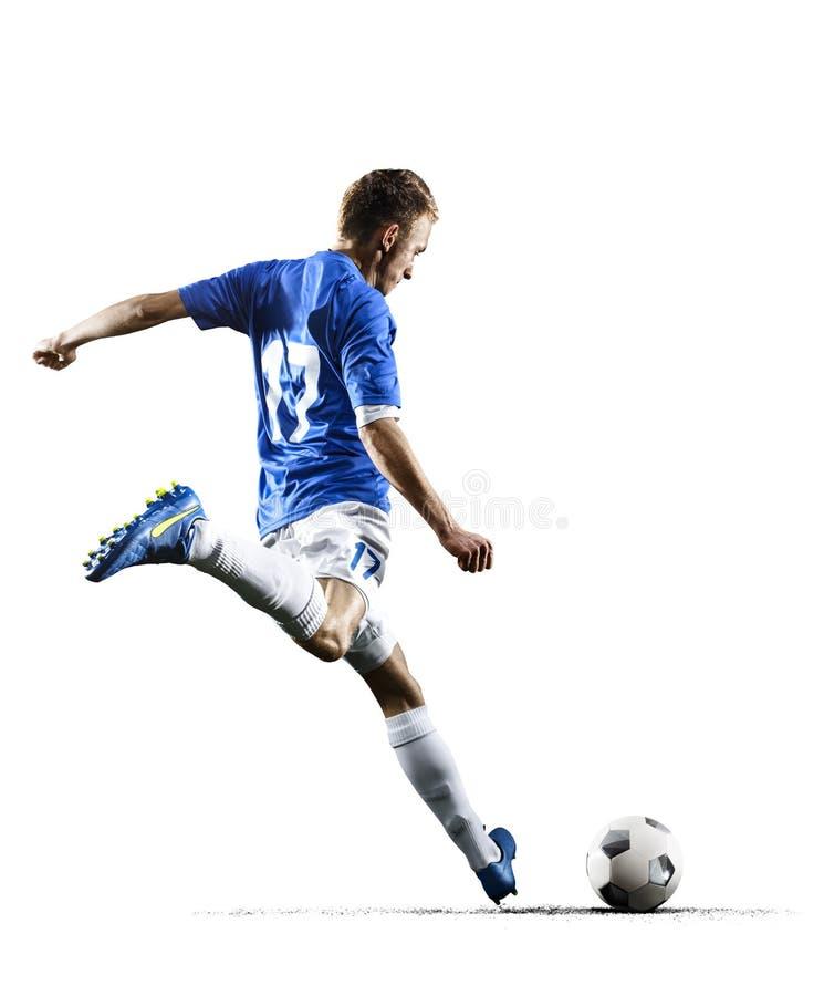 Fotbollspelaren för yrkesmässig fotboll i handling isolerade vit bakgrund arkivfoto