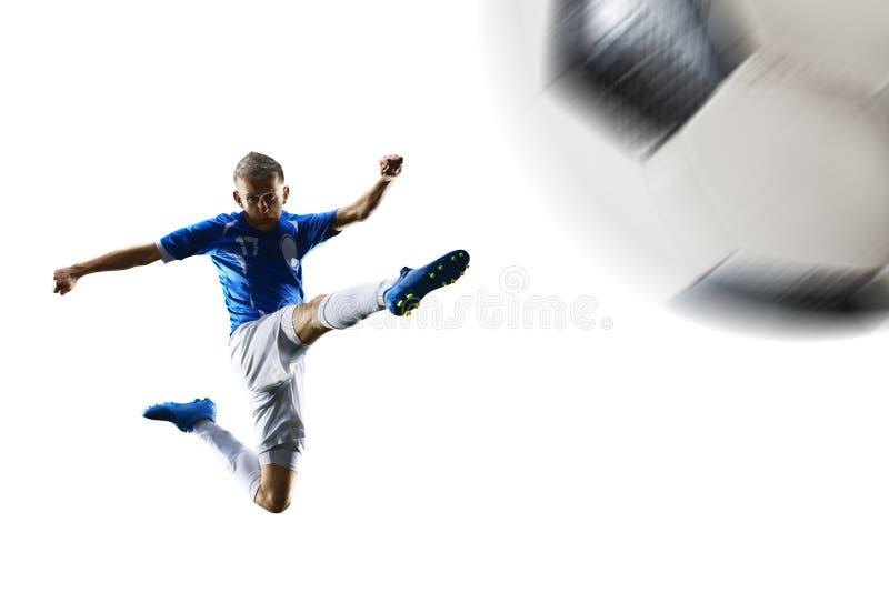 Fotbollspelaren för yrkesmässig fotboll i handling isolerade vit bakgrund royaltyfri foto