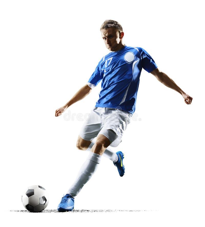 Fotbollspelaren för yrkesmässig fotboll i handling isolerade vit bakgrund arkivbild
