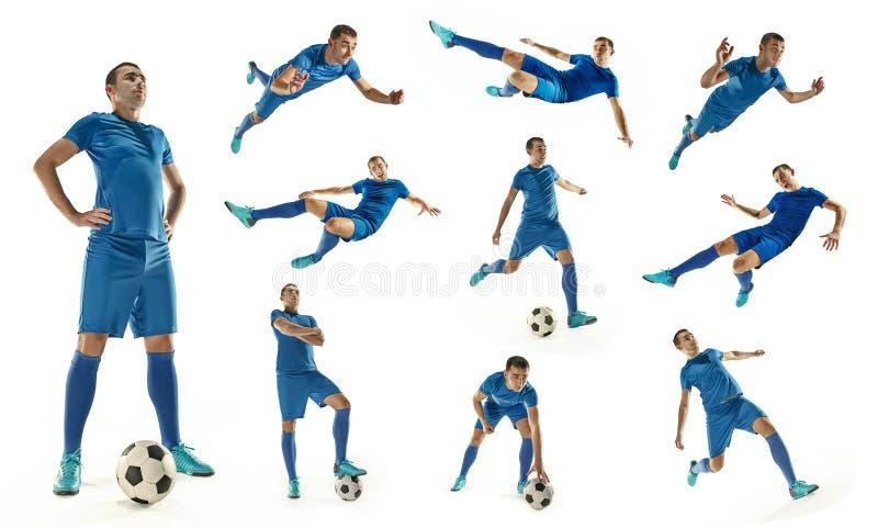 Fotbollspelaren för yrkesmässig fotboll med bollen isolerade vit bakgrund fotografering för bildbyråer