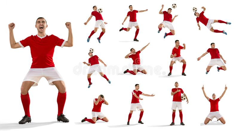 Fotbollspelaren för yrkesmässig fotboll med bollen isolerade vit bakgrund arkivbild