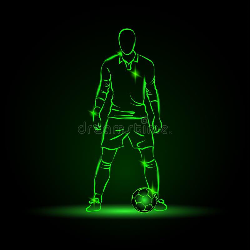Fotbollspelaren står nära bollen och förbereder sig för en spark royaltyfri illustrationer