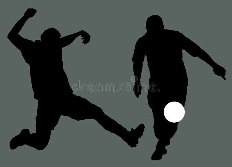 FotbollspelareSilhouette royaltyfri illustrationer