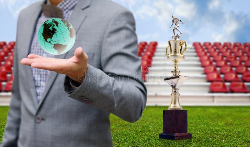 Fotbollsportaffärsidé, Trohy för vinnare arkivbild
