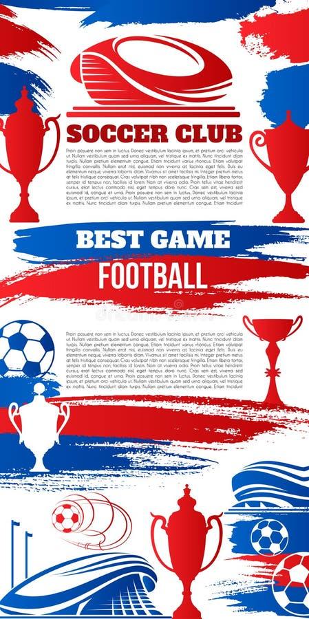 Fotbollsportbaner med fotbollsarena och bollen royaltyfri illustrationer