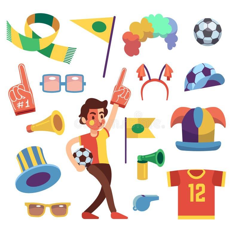 Fotbollsportfuns med hjälpmedel som hurrar lagseger Tecknad filmvektoruppsättning vektor illustrationer