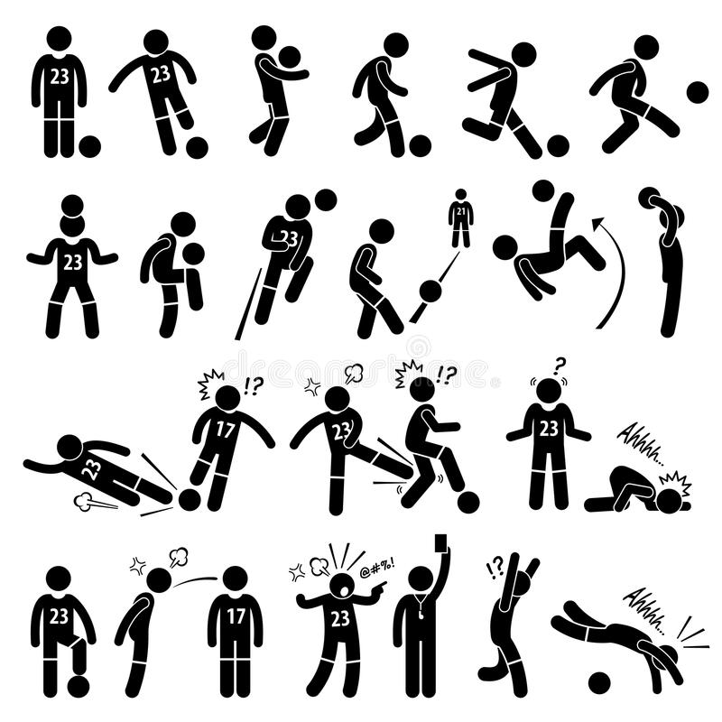 Fotbollsspelare Actions Poses Cliparts för fotbollfotbollspelare vektor illustrationer