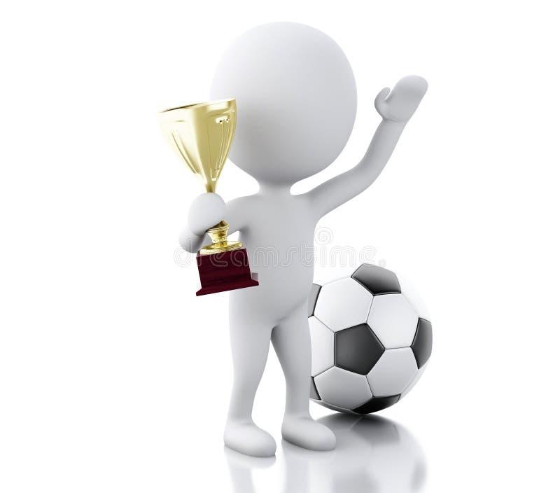 fotbollsspelare 3d med trofén och bollen Sportbegrepp vektor illustrationer