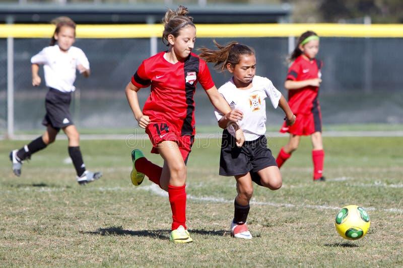 Fotbollsspelare för flickaungdomfotboll som kör för bollen royaltyfri bild