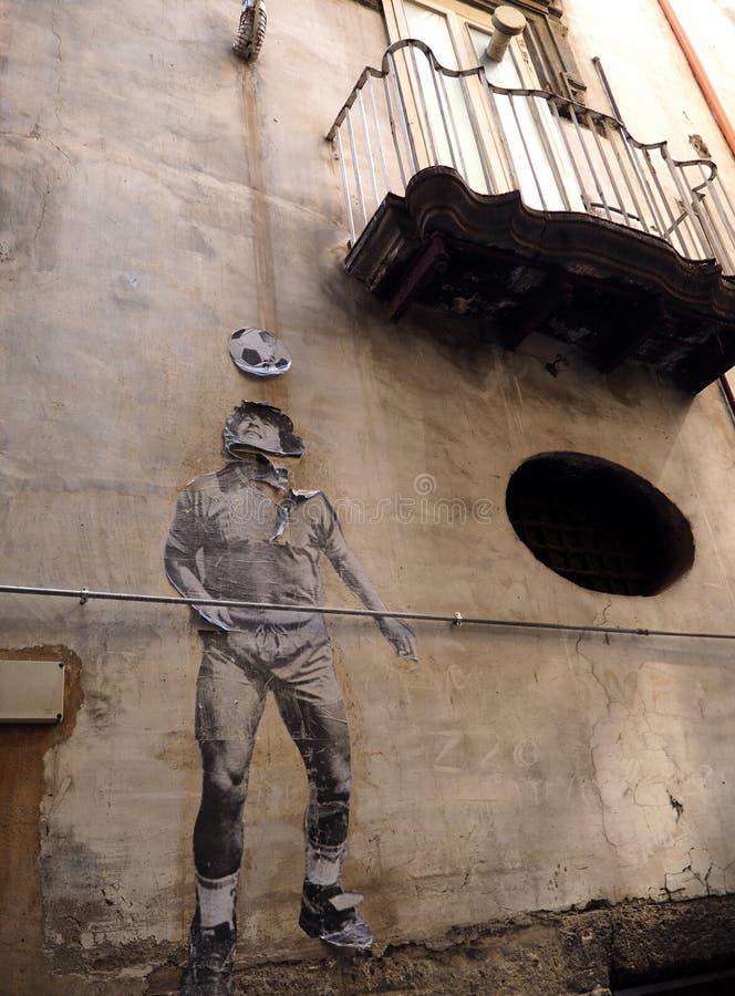 Fotbollsspelare gatorna av Naples royaltyfri fotografi