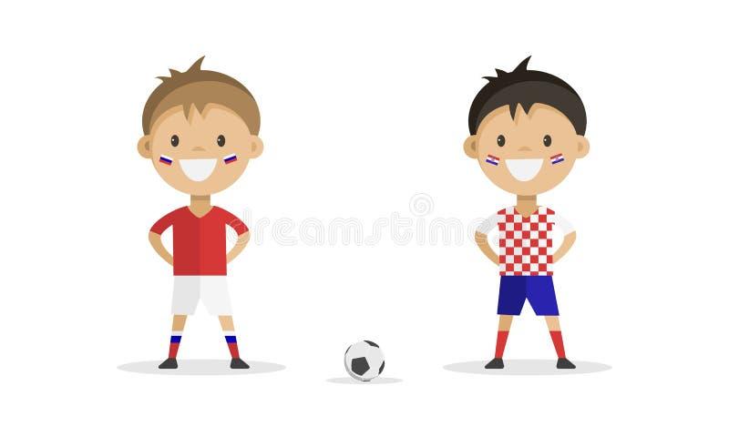 Fotbollsspelare i form av Ryssland och Kroatien på en vit bakgrund royaltyfri fotografi