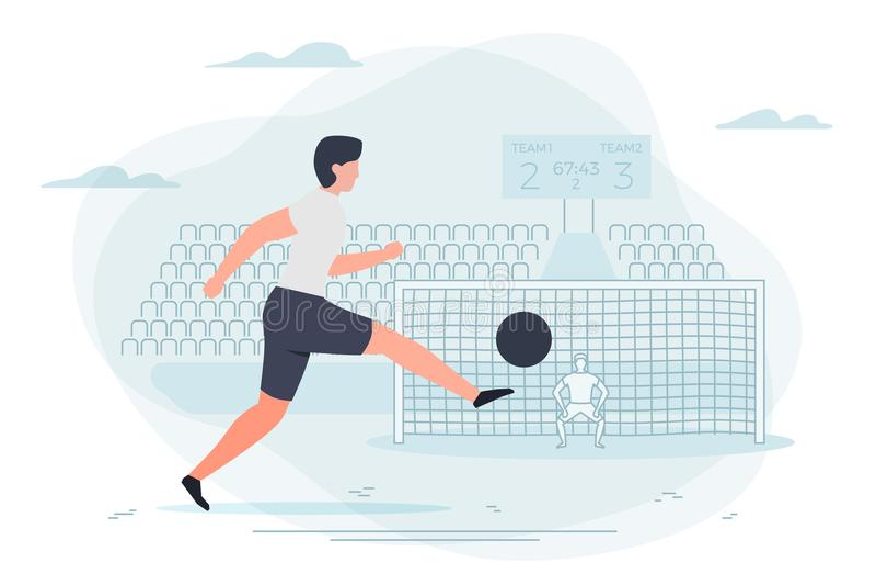 Fotbollsspelare Målvakt och stadion vektor illustrationer