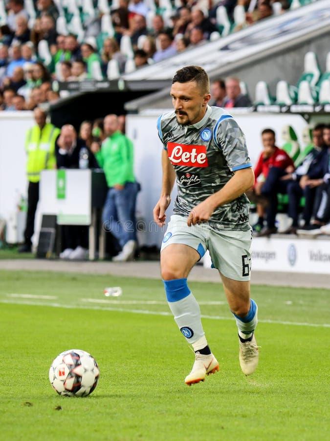 Fotbollsspelare Mario Rui som spelar en match arkivbilder
