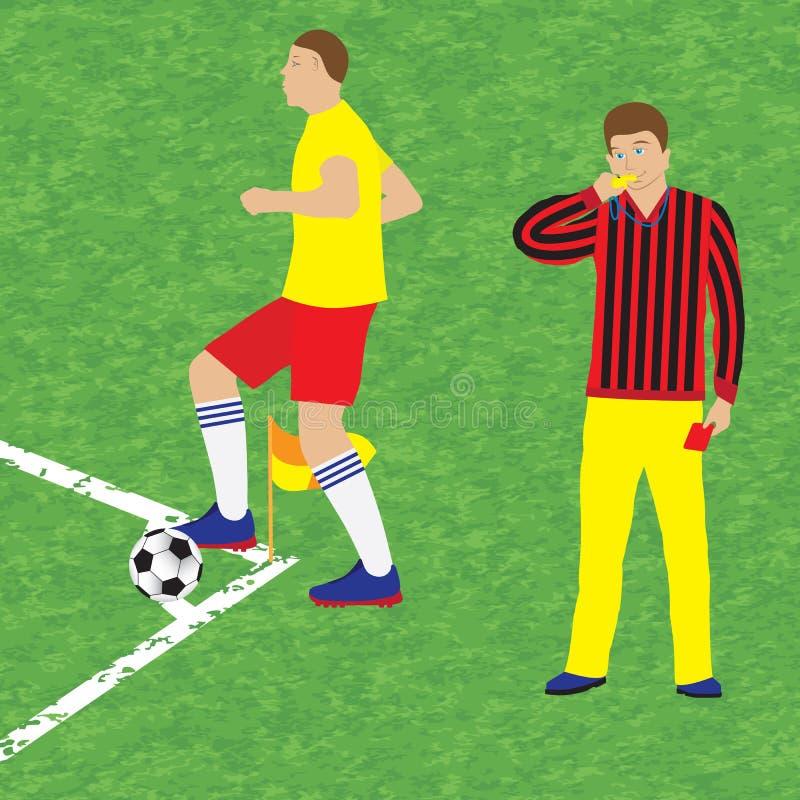Fotbollsspelare och domare fotboll stock illustrationer