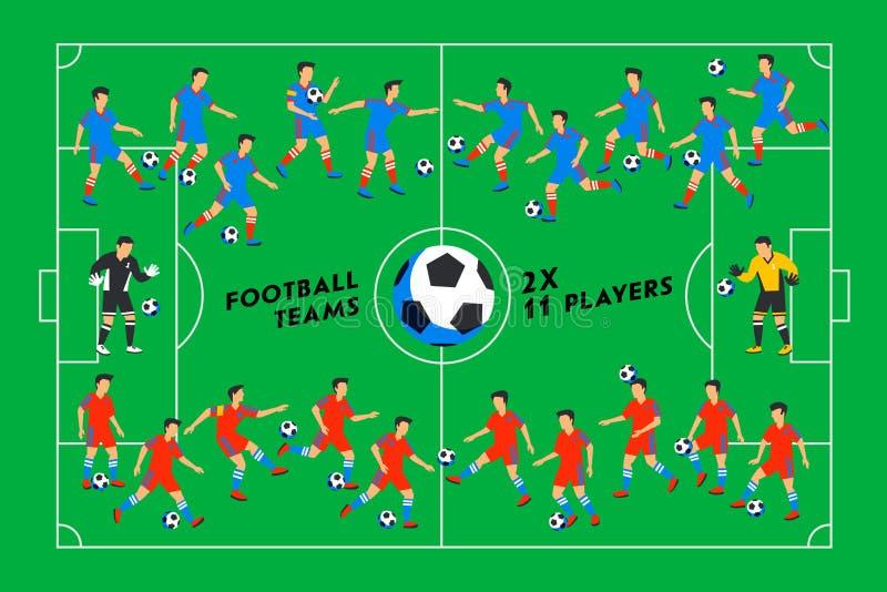 Fotbollsspelare på ett grönt fält Fotbollspelare på olika positioner som spelar fotboll på en stadion spectacular vektor illustrationer