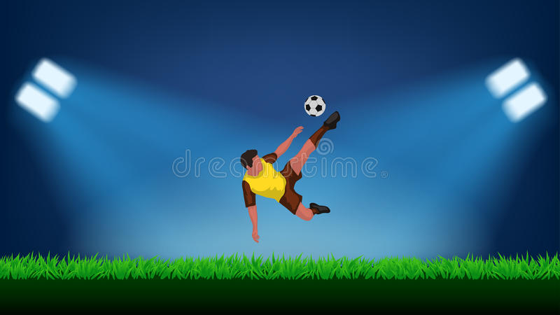 Fotbollsspelare på stadion vektor illustrationer