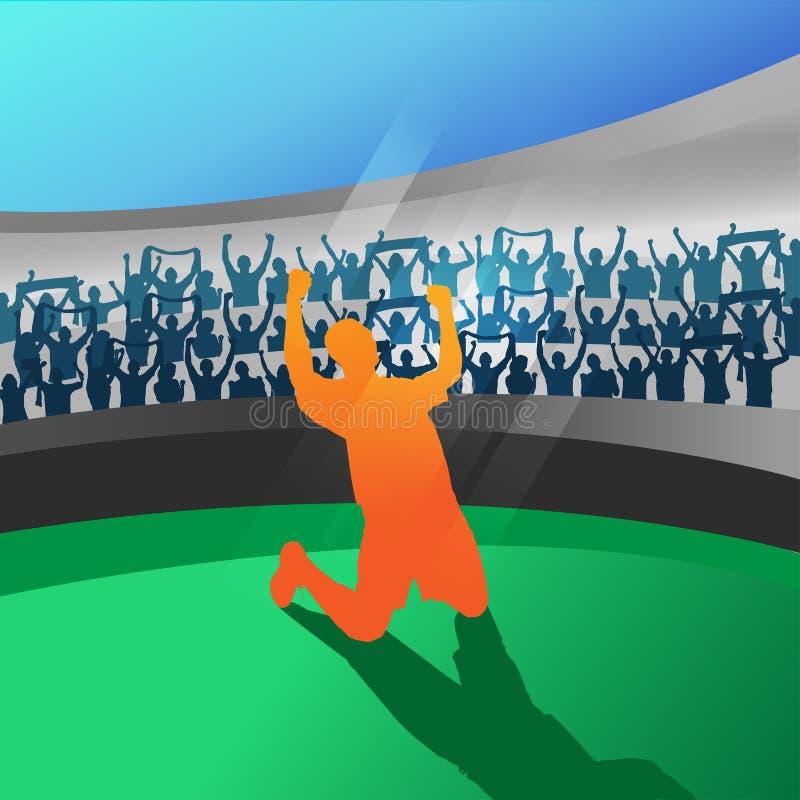 Fotbollsspelare som firar i stadionvektor stock illustrationer