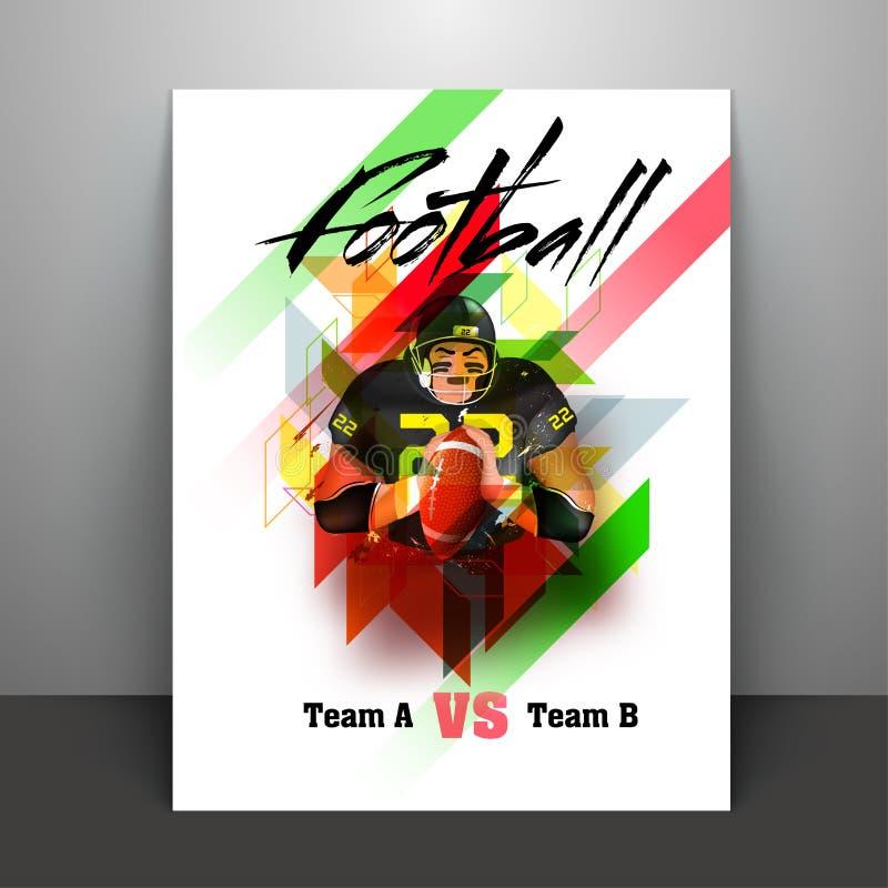 Fotbollsspelare som rymmer amerikansk fotboll, reklamblad- eller banerdesig vektor illustrationer