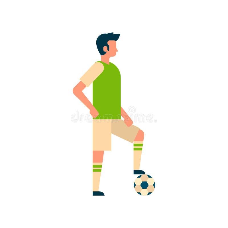 Fotbollsspelare som sätter foten på boll isolerad full längd för sportmästerskaplägenhet royaltyfri illustrationer