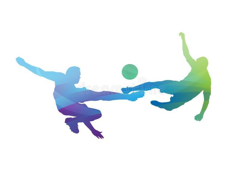 Fotbollsspelare som tacklar för bollvektorn vektor illustrationer