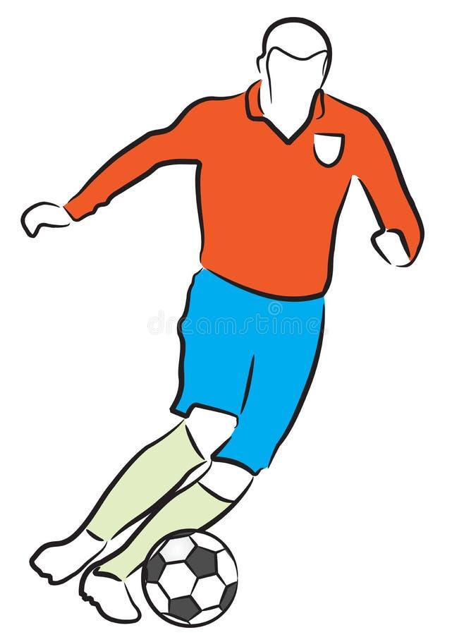 fotbollsspelarefotboll royaltyfri illustrationer