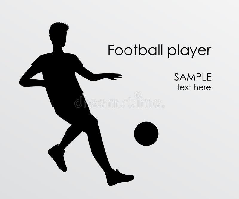 Fotbollsspelarekontur - vektorillustration Spark för manfotbollspelare på boll stock illustrationer