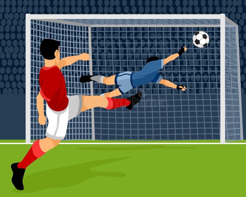 Fotbollsspelaren gör poäng mål vektor illustrationer