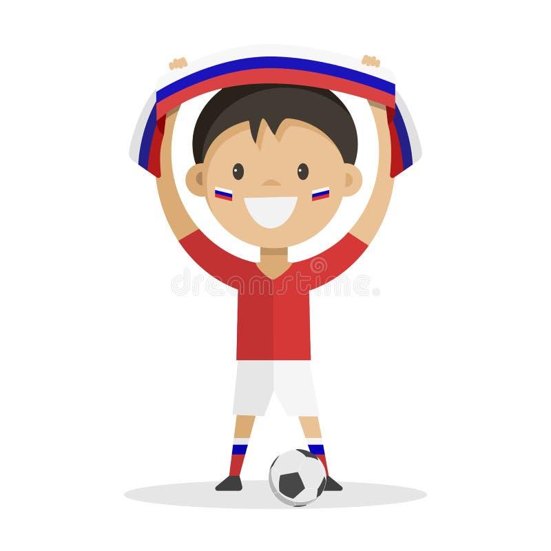 Fotbollsspelaren med en boll på en vitbakgrund lyfter en halsduk med flaggan av Ryssland över hans huvud arkivfoton